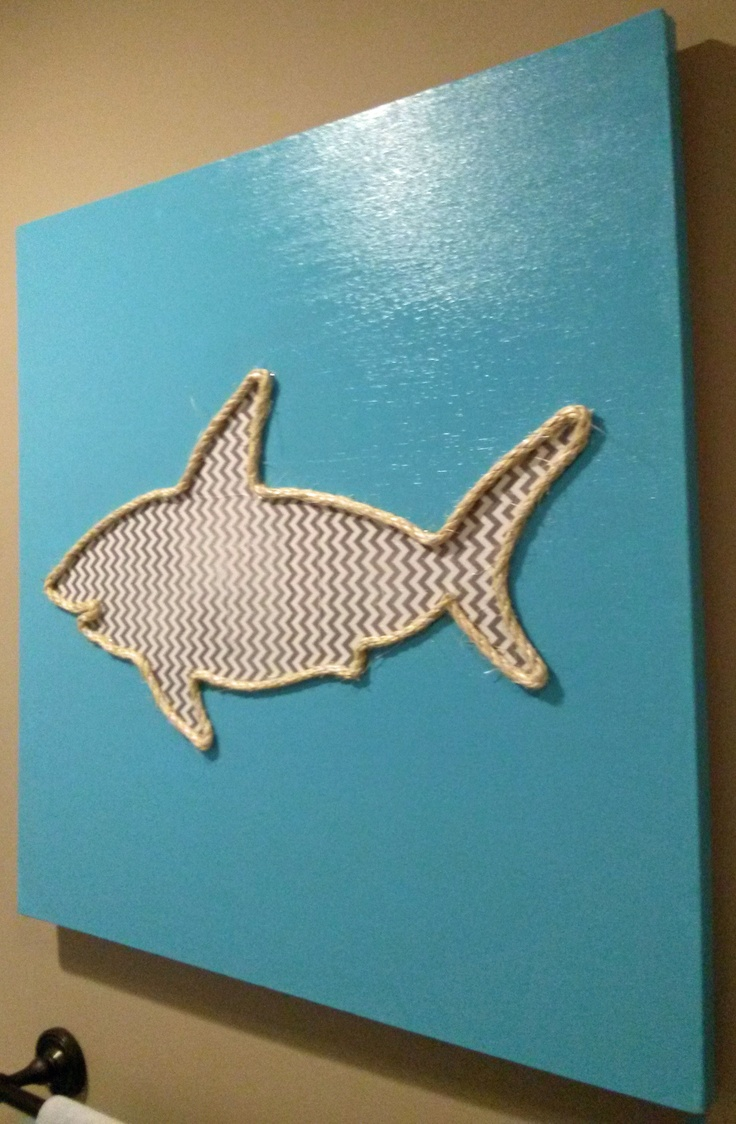 Chevron shark silhouette and rope outline for shark themed bathroom