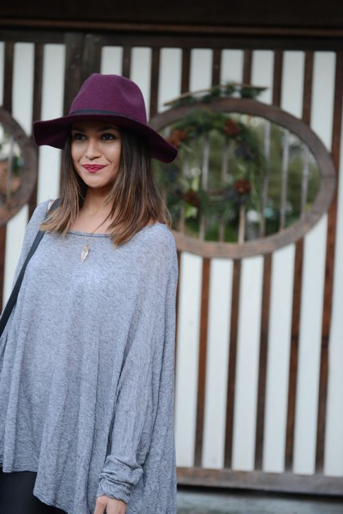 cozy top + burgundy hat