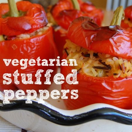 Vegetarian Stuffed Peppers (leave out cheese and spices, use the rice ...