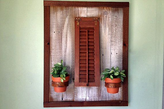 Shutter planter wall decor for Decorating with old windows and shutters