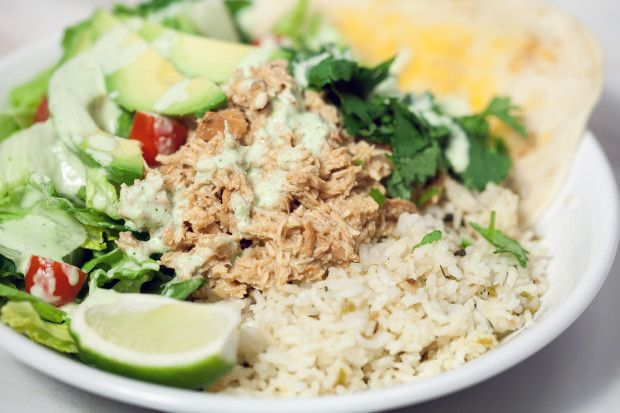Cafe Rio-Style Pulled Chicken Salad with Creamy Tomatillo Ranch ...