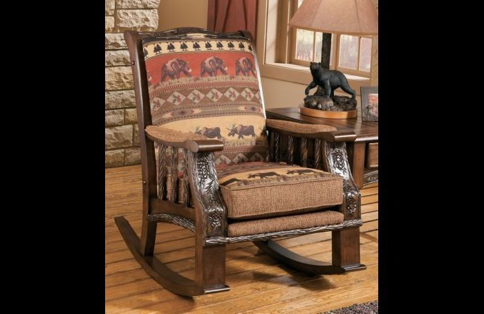 Lodge Style Rustic Cabin Chenille Rocker Chair Furniture Wood Fabric
