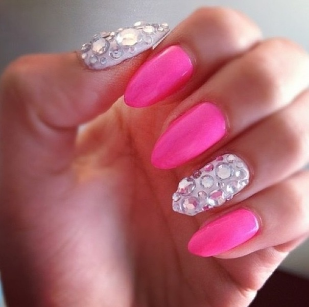 Pink & jeweled almond-shaped nails. | nails . | Pinterest