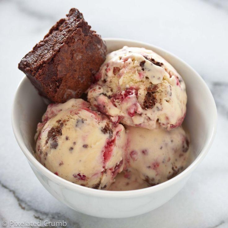 Raspberry Swirl and Brownie Ice Cream | ice cream | Pinterest