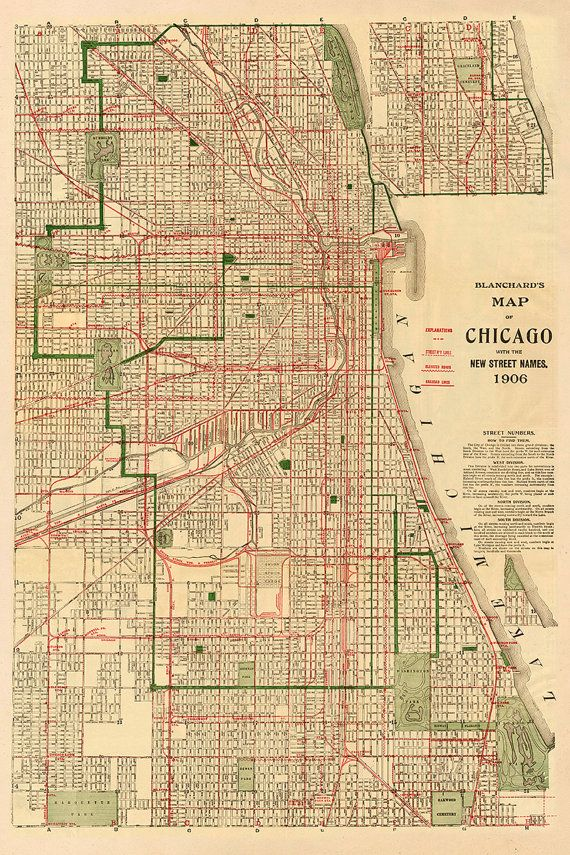 Vintage 1906 Map Of Chicago