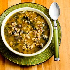 Ground Turkey and Barley Soup with Mushrooms and Spinach Recipe