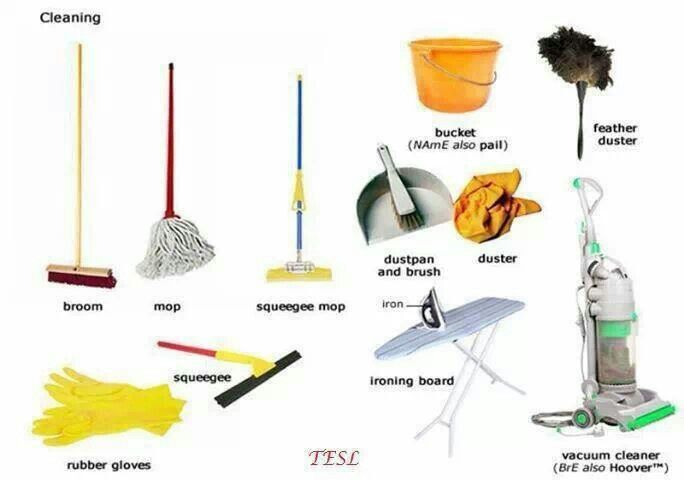 Cleaning tools vocabulary vocabulary pinterest for Gardening tools vocabulary