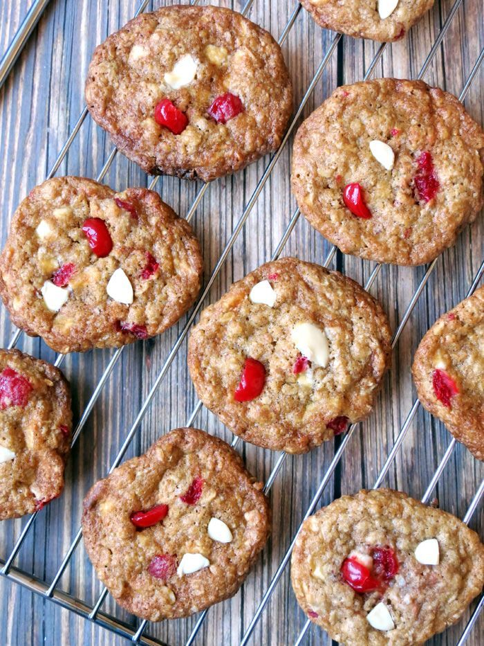 Maraschino Cherry White Chocolate Oatmeal Cookies | YummyAddiction.com