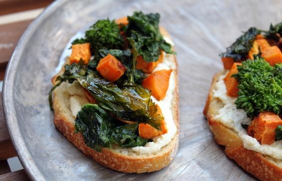 Roasted Broccoli Rabe, Sweet Potato & Ricotta Crostini | Recipe