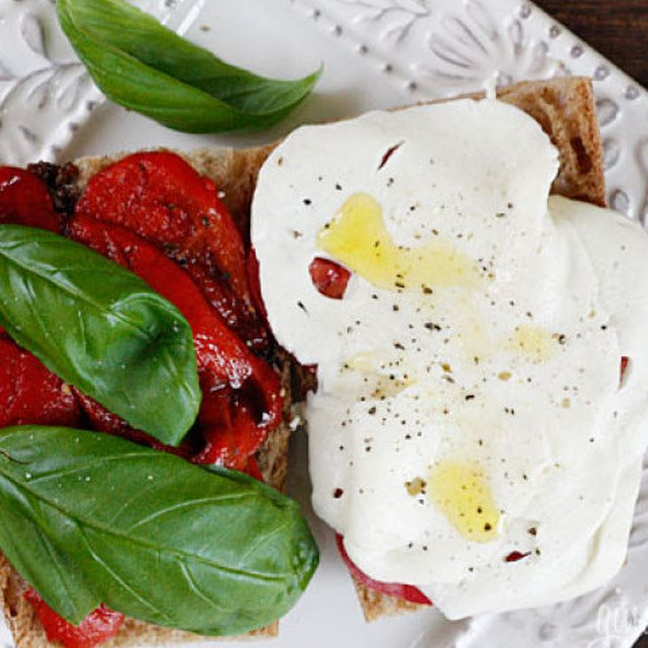 Tomato, Fresh Mozzarella, Roasted Pepper On Whole Wheat Bread Recipes ...
