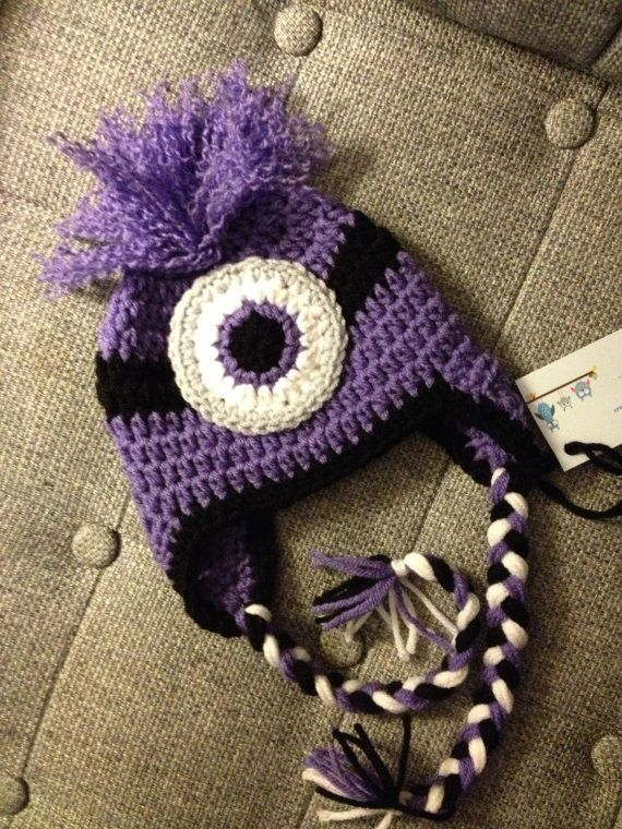 Crochet Hat Pattern For Minion : Evil Minion Crochet Baby Newborn Beanie Hat Made to Order