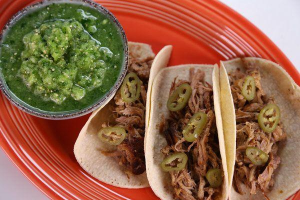 the chew Carnitas con Salsa Verde Cruda Recipe: Carnitas, meaning ...