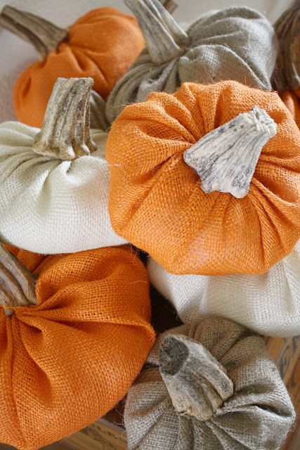 Burlap pumpkins with real stems