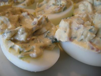 My light chipotle bacon deviled eggs. I forgot to put these out for ...