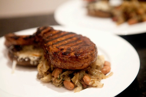 Balsamic Grilled Pork Chop with Carmelized Fennel, Date, Almond and ...