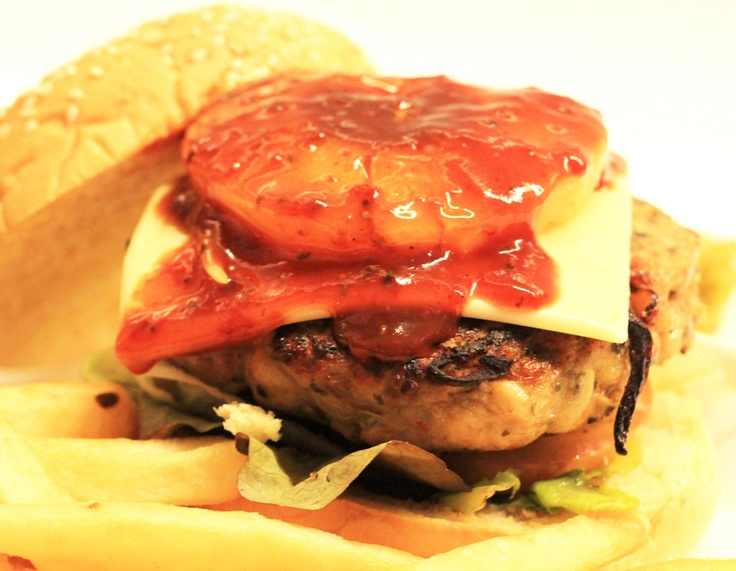 Burger - Homemade chicken patty grilled over hot pan with crispy beef ...