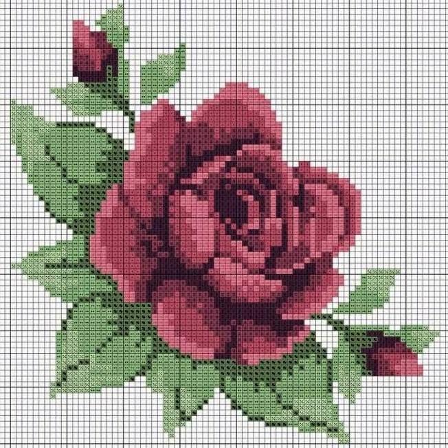 Вышивка роза крестиком лёгкая 54