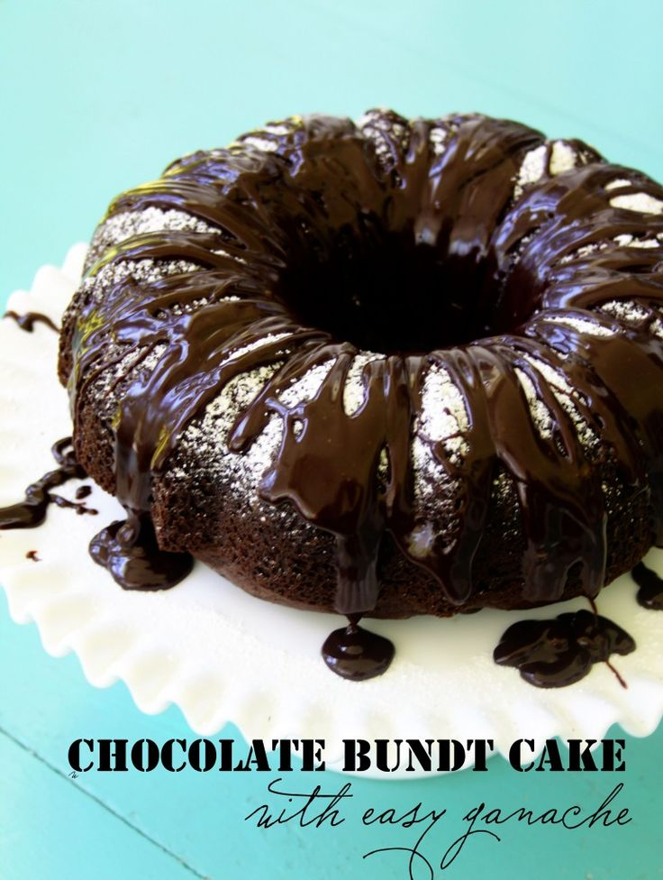 Chocolate bundt cake with easy chocolate ganache.