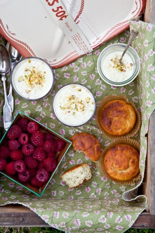 Raspberry Rhubarb Tapioca Puddings & Lemon Poppy Seed Muffins
