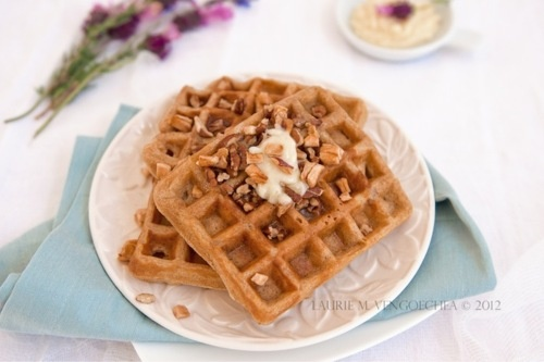 Whole Wheat Apple Pecan Buttermilk Waffles with Lavender Honey Butter