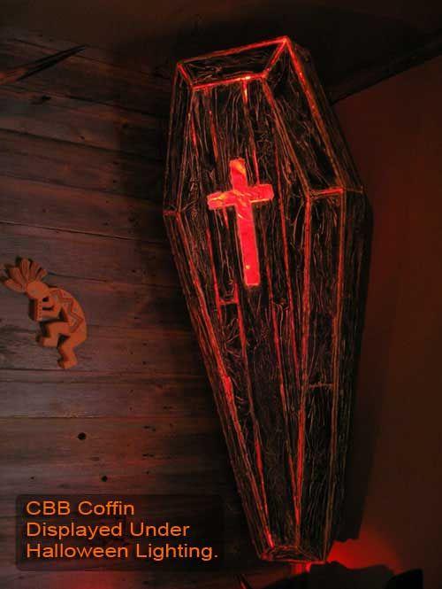 Diy cardboard light up coffin halloween pinterest for Cardboard halloween decorations diy