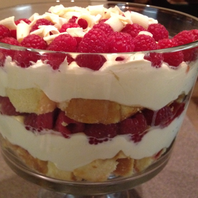 White Chocolate Mousse and raspberry Trifle