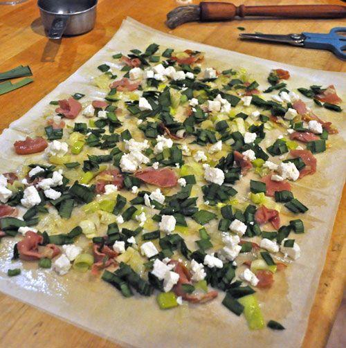Prosciutto and Feta Strudel, so easy with purchased filo - just roll ...