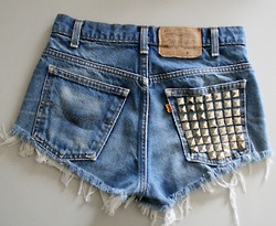 Studded denim shorts shorts