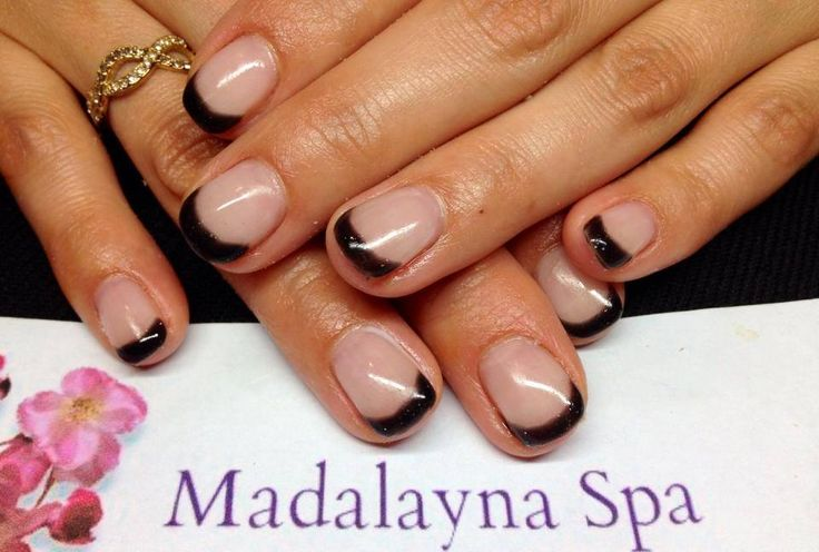 Gel nail enhancement with ORLY GelFX Goth french manicure tips #nails