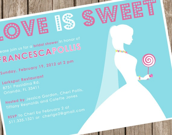 Bridal Shower Invitation - Love is Sweet - Candy Necklace Shower ...