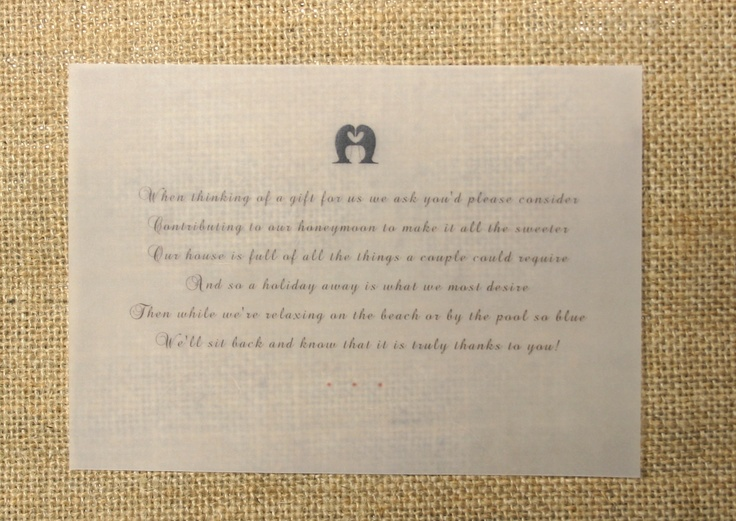 Wedding Gift List Rhymes : ... gift list poem on Conqueror tracing paper. Penguin, snowflake, winter