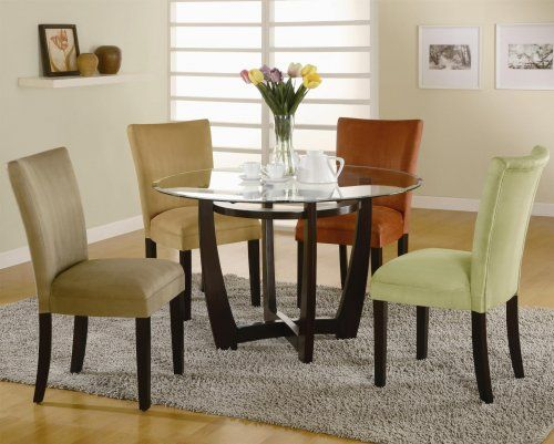 dining set with multi colored chairs