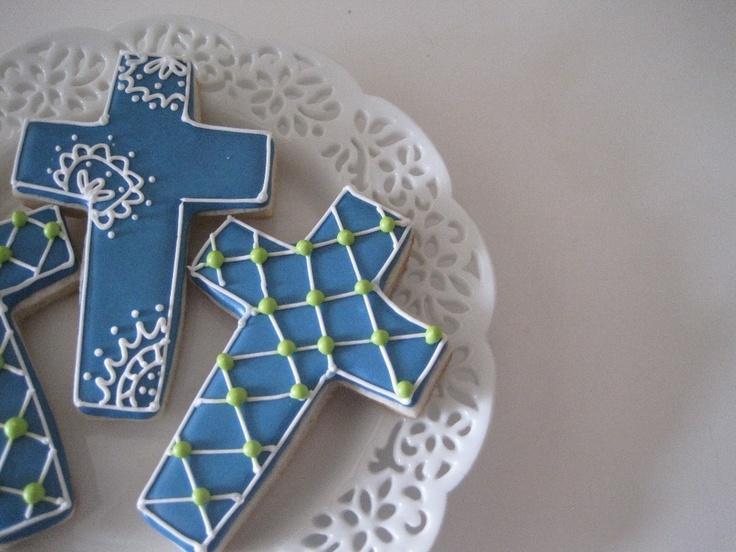 ... BAPTISM Cross Sugar cookies BLUE Vanilla Bean, Lemon or Lavender -1