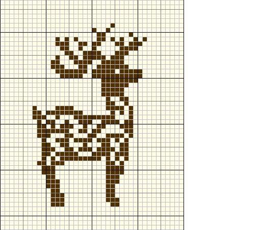 Reindeer Knitting Pattern Chart : Reindeer cross stitch Knitting Christmas Pinterest