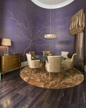 Purple Gold Dining Room Peg Berens Interior Design Llc Private Home Robert Naik Photography