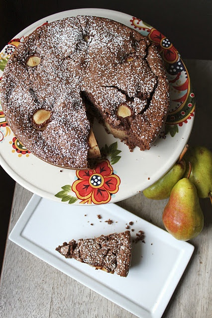 flourless chocolate and pear cake with ground hazelnuts and espresso ...