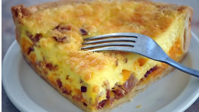 Swiss Cheese & Bacon Quiche (emmentaler cheese = swiss cheese)
