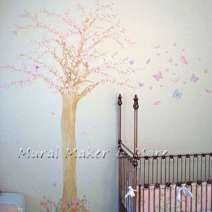 Cherry blossom tree mural in baby girl 39 s room for Cherry blossom tree mural