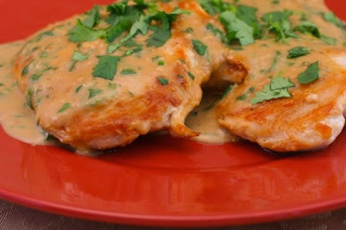 Chicken Breasts with Cilantro and Red Thai Curry Peanut Sauce | Recipe
