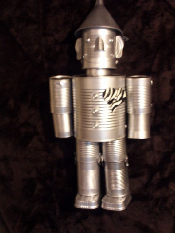 Hand crafted original tin can man the wizard of oz zebra for Tin man out of cans