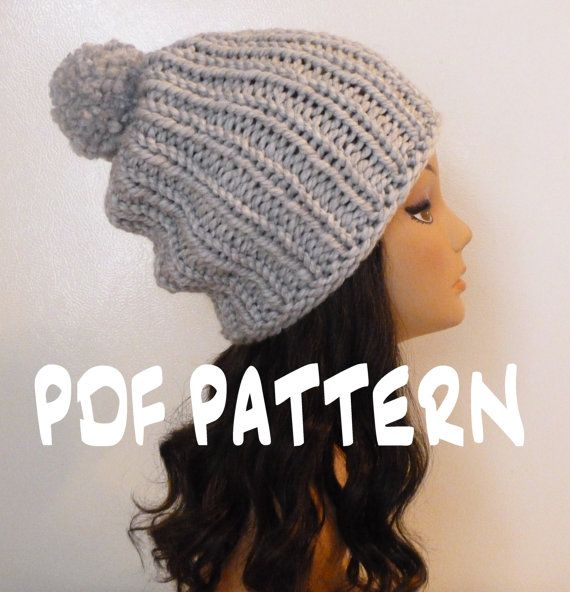 Knitting Pattern For Ribbed Beanie : INSTANT DOWNLOAD Knitting PATTERN Slouchy Ribbed Beanie ...