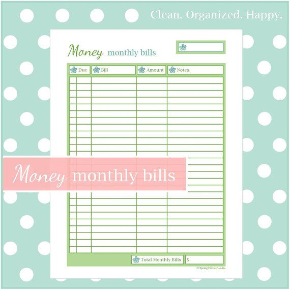 home images monthly bill checklist document monthly bill checklist ...