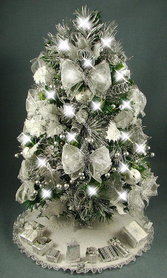 Decorated mini tabletop christmas tree silver and white for Small decorated christmas trees