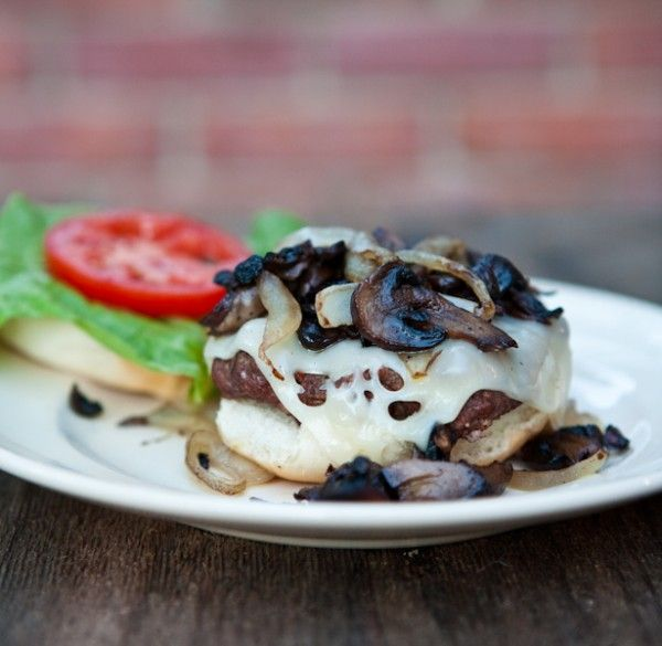 Grilled Mushroom Swiss Burgers via @Angie McGowan (Eclectic Recipes)