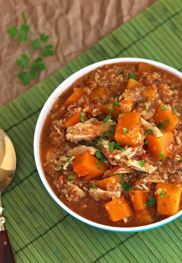 Slow Cooker Butternut Squash Chicken Quinoa Stew | Recipe