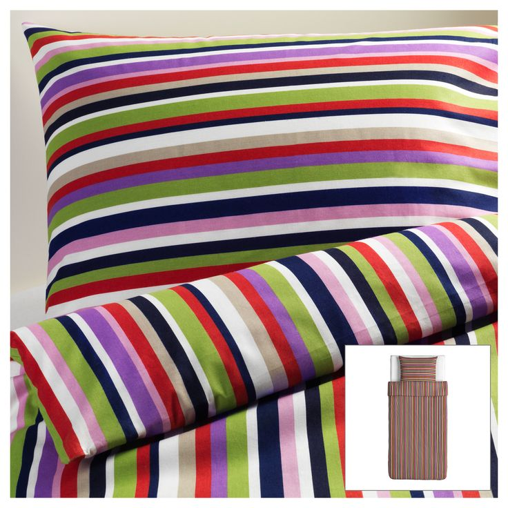 Dvala housse de couette et taie ray multicolore - Couette ignifugee ikea ...