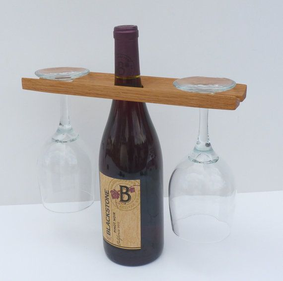 Reclaimed Wood Eco Friendly Wine Bottle Holder and Glass Caddy ...