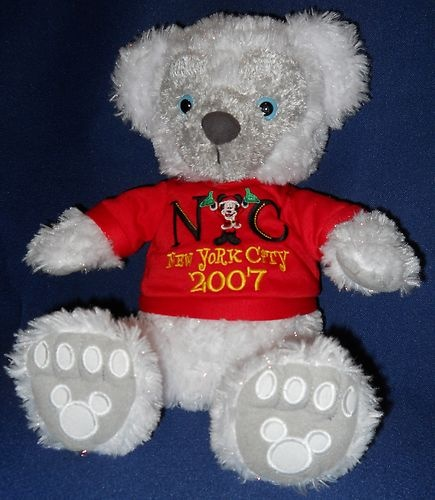 Pre Duffy Hidden Mickey Bear Disney White Sparkle Plush Blue Eyes Tag 2007 NYC $600.00