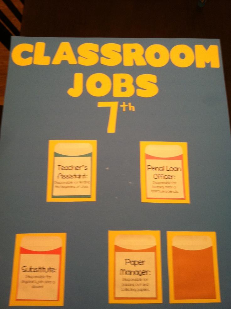 Classroom Job Ideas Middle School ~ Classroom jobs for middle school setup pinterest