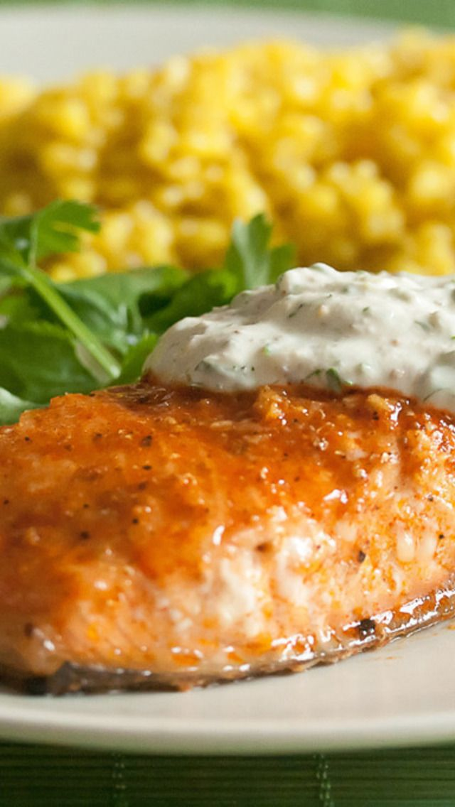 Cedar-Planked Salmon With Herbed Yogurt Sauce Recipe ...
